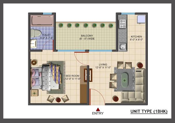 avj info city floor plan 1bhk 1toilet 650 sqft