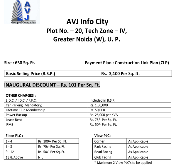 avj infocity price list