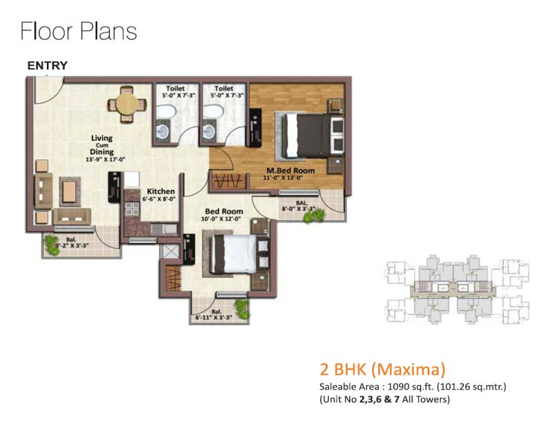 springview heights floor plan 2bhk 2toilet 1090 sqft