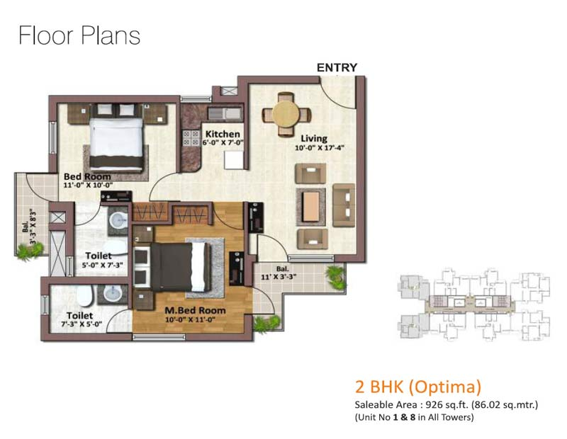 springview heights floor plan 2bhk 2toilet 926 sqft