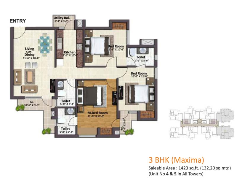 springview heights floor plan 3bhk 3toilet 1423 sqft