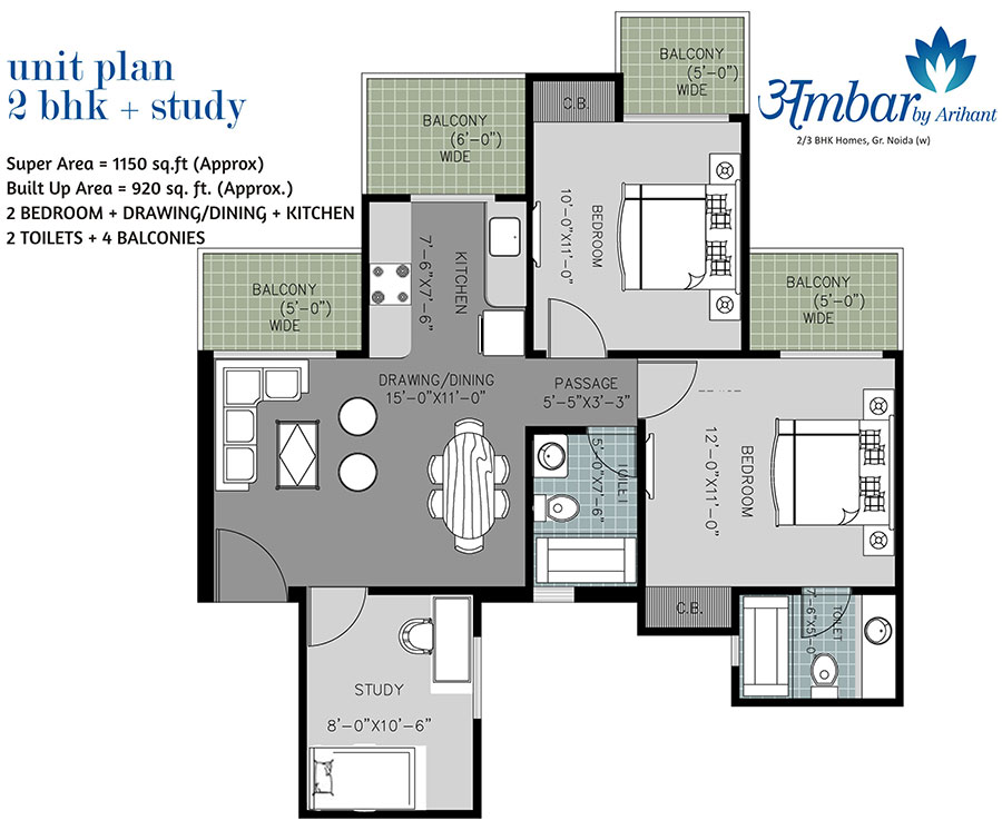 arihant ambar floor plan 2bhk 2toilet 1150 sqft