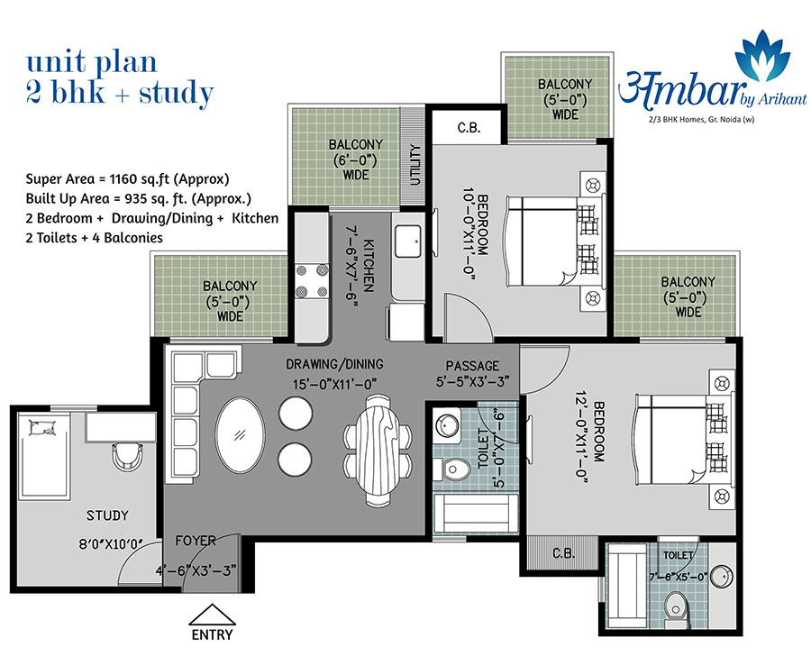 arihant ambar floor plan 2bhk 2toilet 1160 sqft
