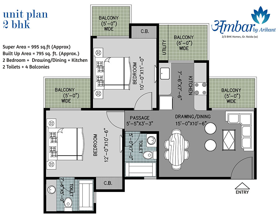 arihant ambar floor plan 2bhk 2toilet 995 sqft