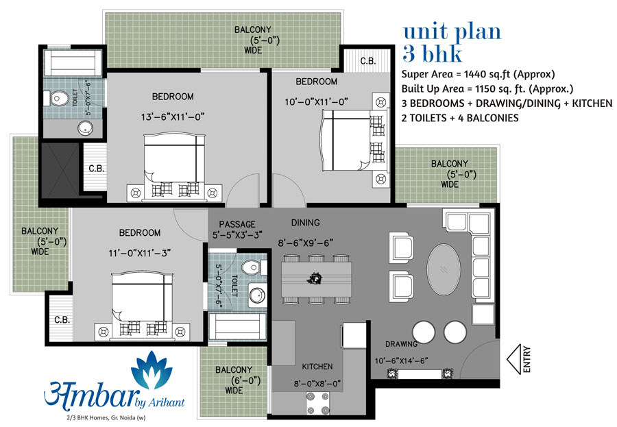 arihant ambar floor plan 3bhk 2toilet 1440 sqft