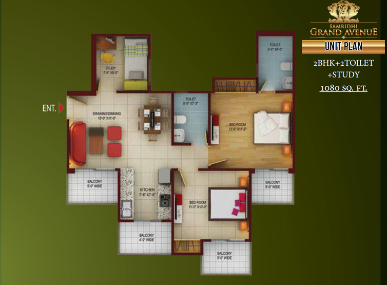 Samridhi grand avenue floor plan 2bhk 2toilet 1080 sq.ft