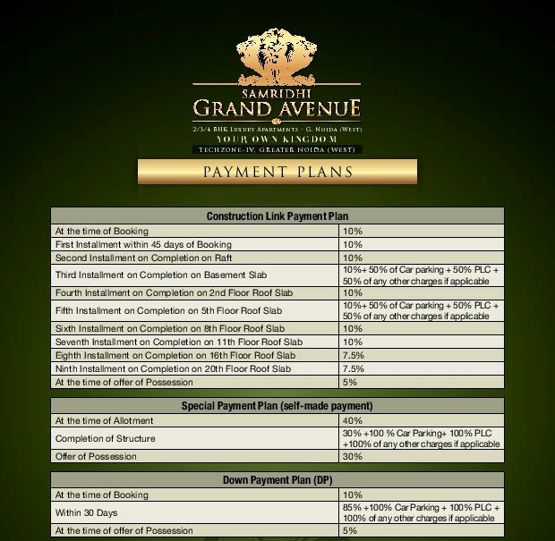 Samridhi grand avenue payment plan