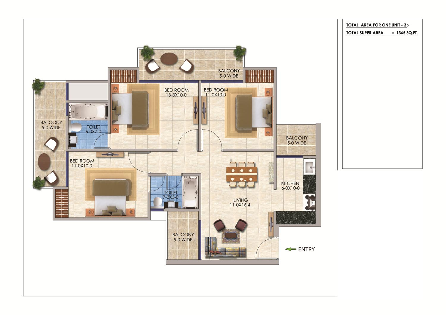 sports home floor plan 3bhk 2toilet 1365 sq.ft