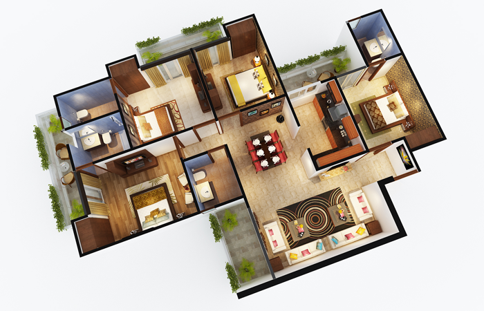 sports home floor plan 4bhk 4toilet 1985 sq.ft