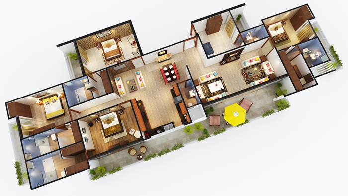 sports home floor plan 4bhk 4toilet 3210 sq.ft