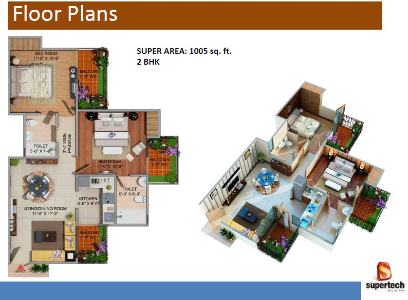 supertech romano floor plan 2bhk 2toilet 1005 sq.ft