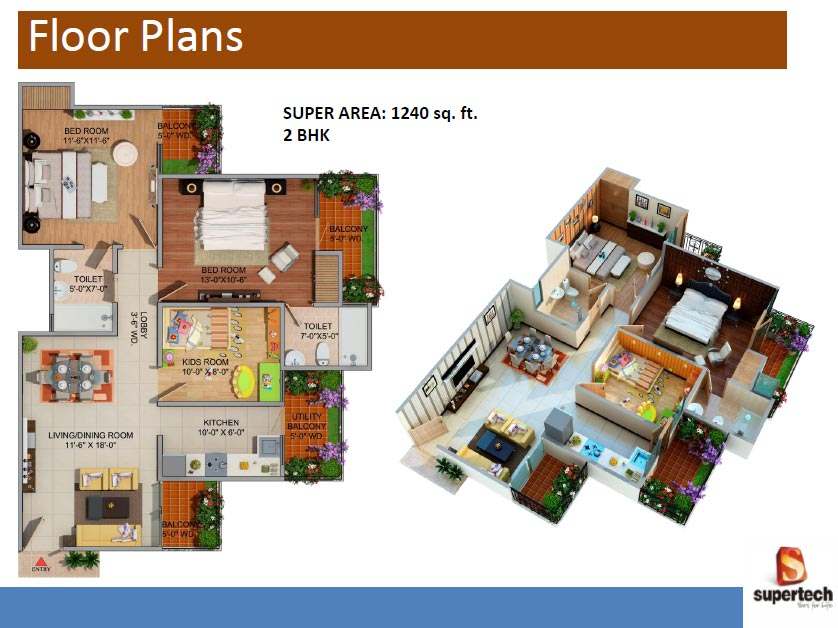 supertech romano floor plan 2bhk 2toilet 1240 sq.ft