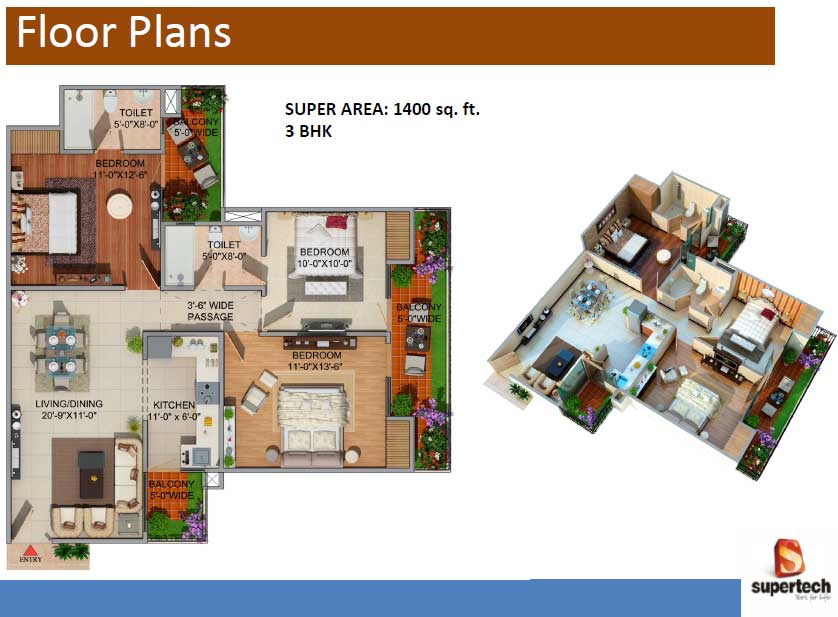 supertech romano floor plan 3bhk 2toilet 1400 sq.ft