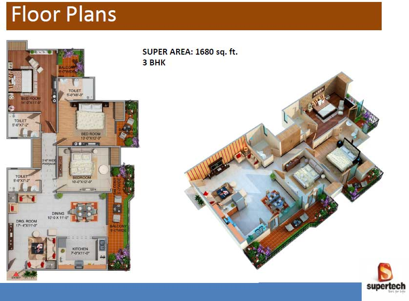 supertech romano floor plan 3bhk 2toilet 1680 sq.ft