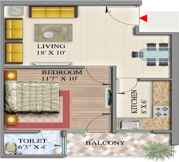 suvidha homes floor plan 1bhk 1toilet 728 sq.ft