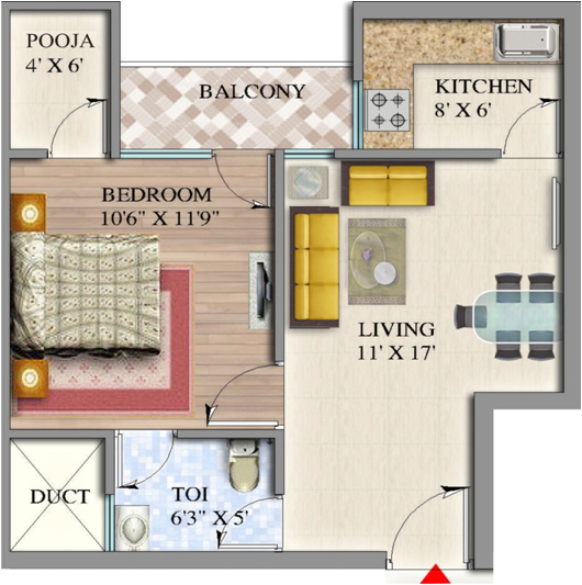 suvidha homes floor plan 1bhk 1toilet 742 sq.ft