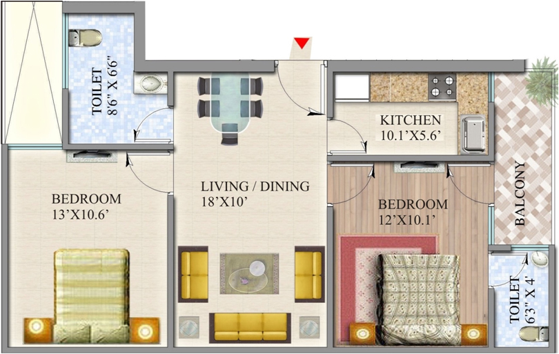 suvidha homes floor plan 2bhk 2toilet 1080 sq.ft