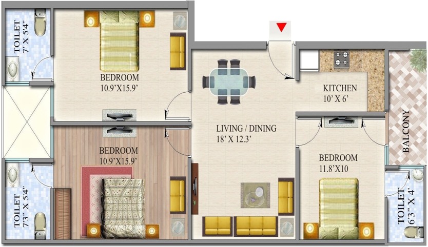 suvidha homes floor plan 3bhk 3toilet 1470 sq.ft