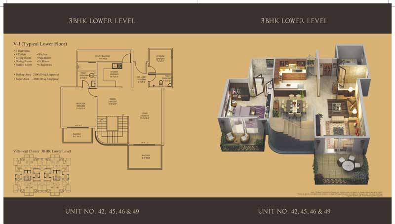 mahagun villaments floor plan 3bhk 4toilet 2600 sq.ft