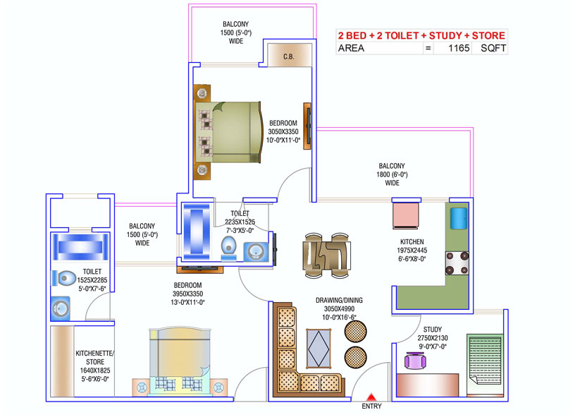 newtech la palacia floor plan 2bhk+2toilet 1165 sq.ft