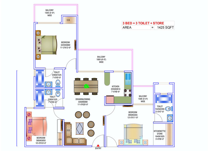 newtech la palacia floor plan 3bhk+3toilet 1425 sq.ft