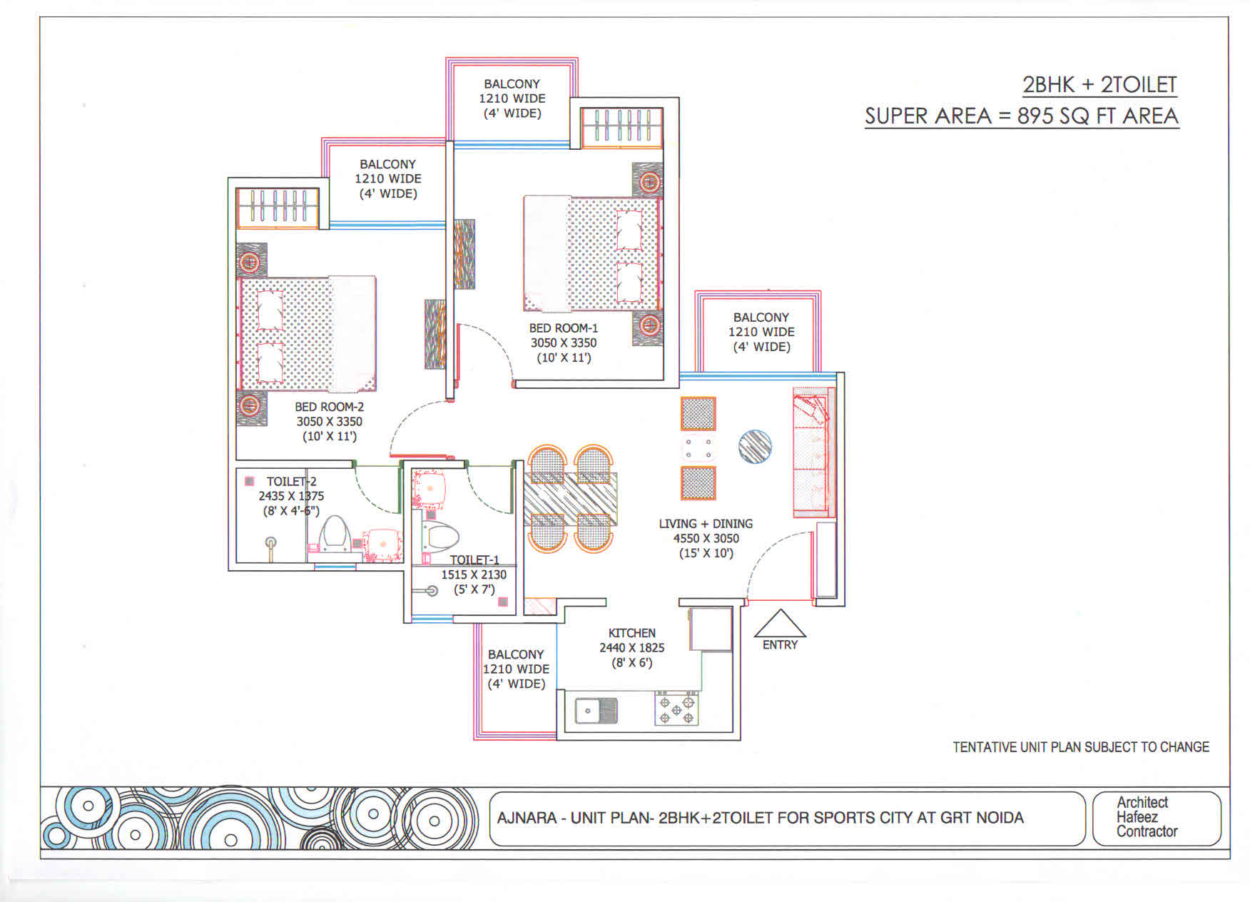 Ajnara Sports City floor plan 2bhk 2toilet 895 sqft