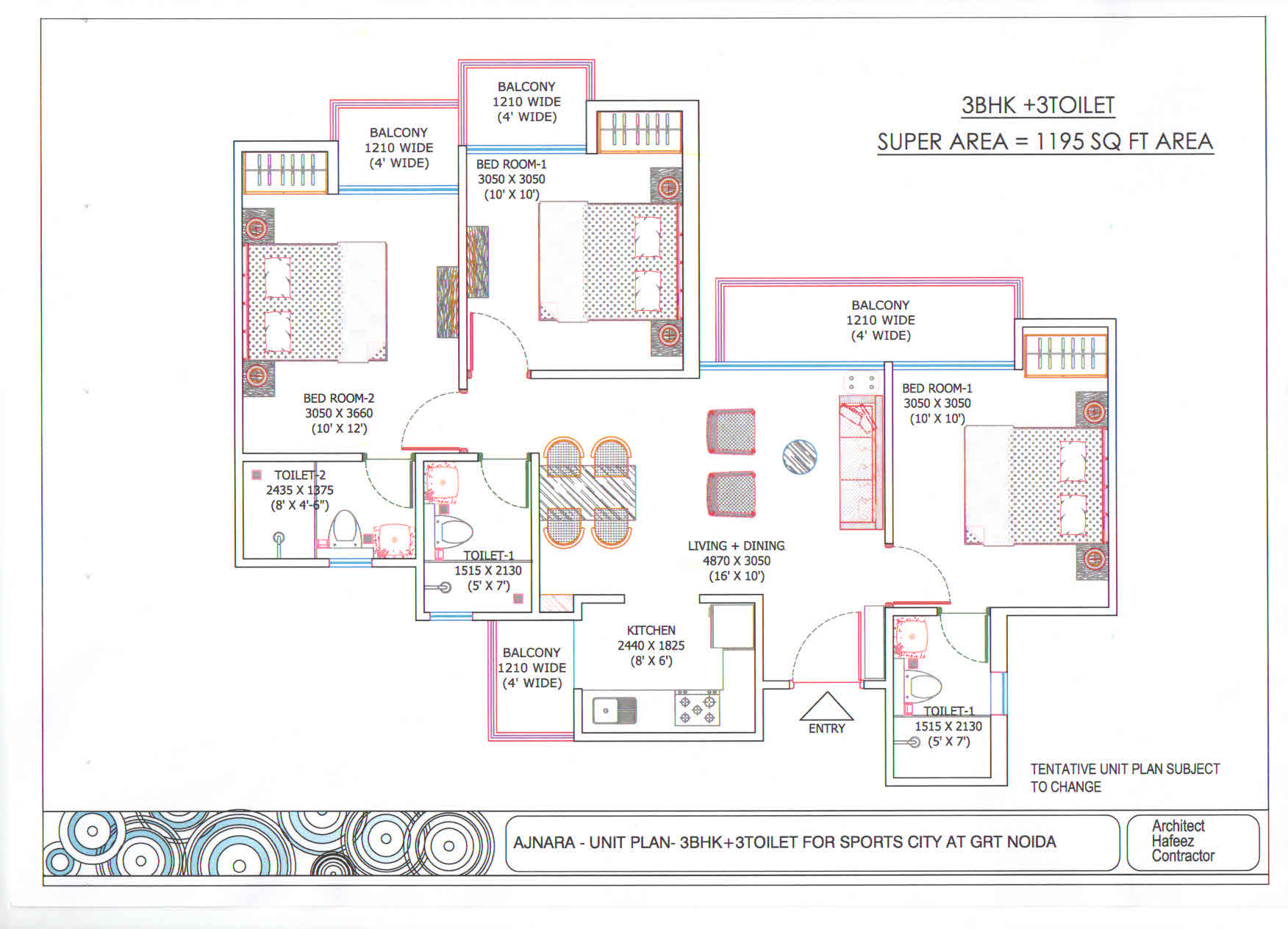 Ajnara Sports City floor plan 3bhk 3toilet 1195 sqft