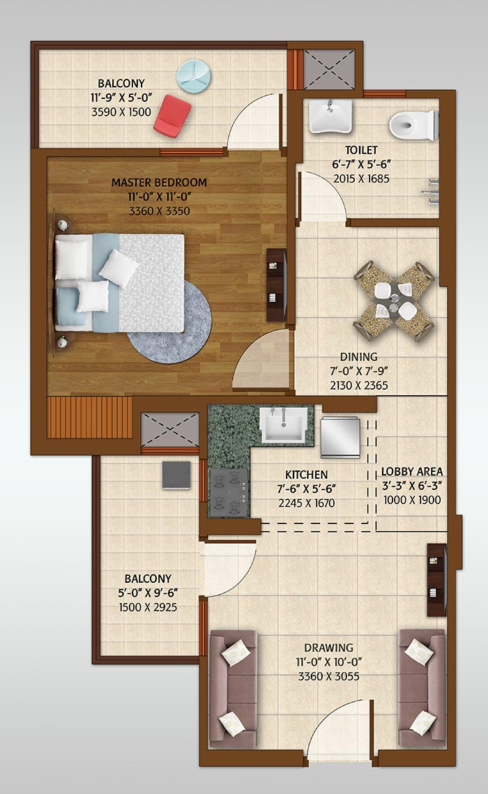ace platinum floor plan 1bhk 1toilet 700 sq.ft