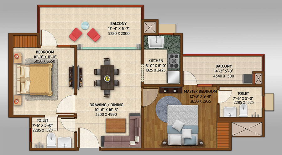 ace platinum floor plan 2bhk 2toilet 1050 sq.ft