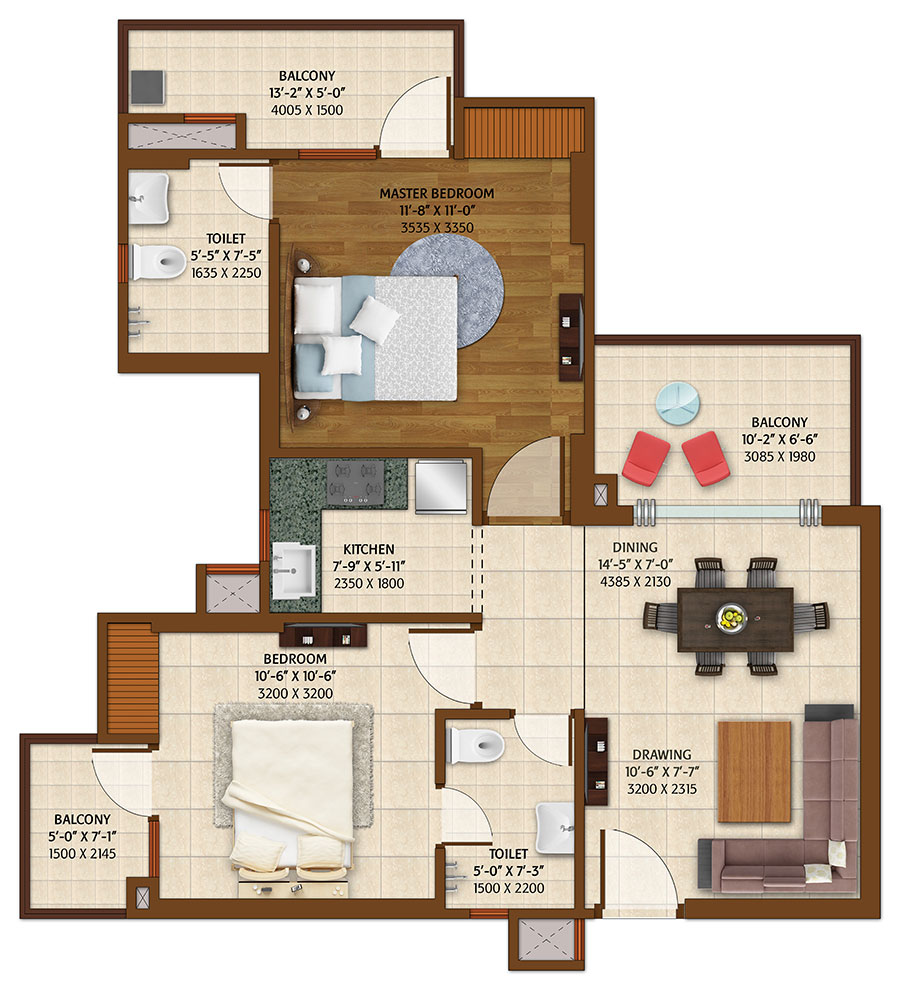 ace platinum floor plan 2bhk 2toilet 1150 sq.ft