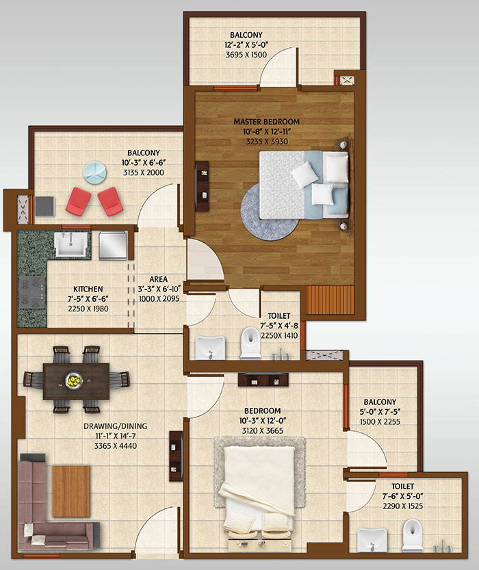 ace platinum floor plan 2bhk 2toilet 1200 sq.ft