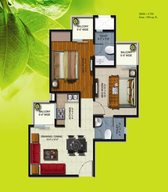 earthcon sparsh floor plan 2bhk 2toilet 794 sq.ft