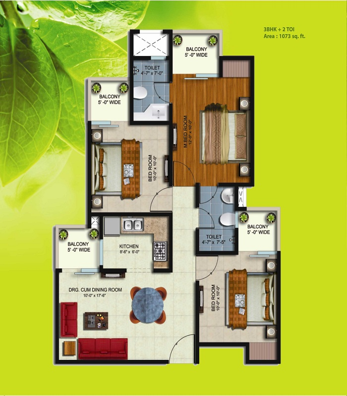 earthcon sparsh floor plan 3bhk 2toilet 1073 sq.ft