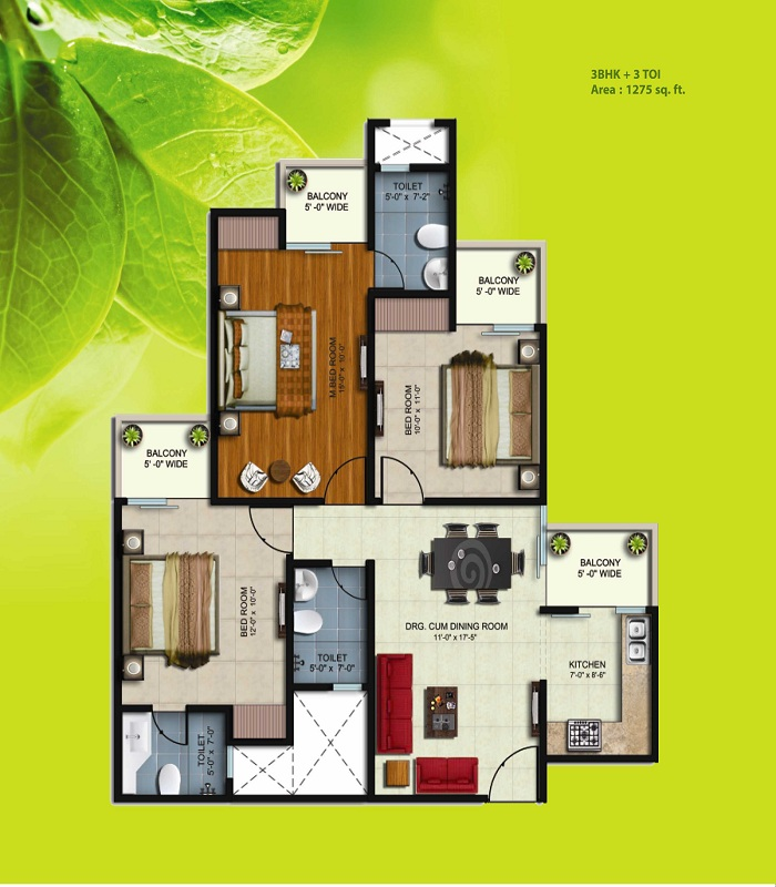 earthcon sparsh floor plan 3bhk 3toilet 1275 sq.ft