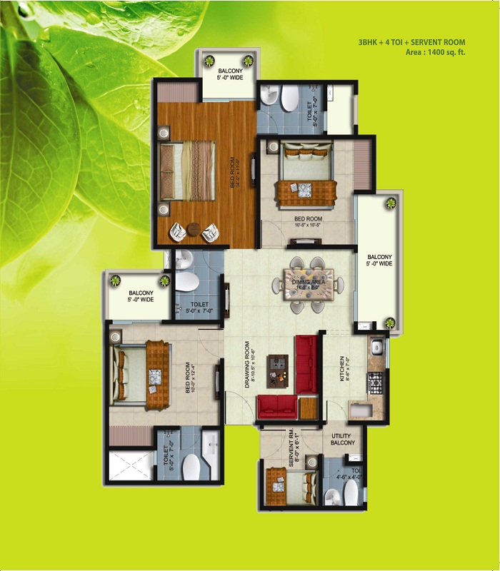 earthcon sparsh floor plan 3bhk 4toilet 1400 sq.ft