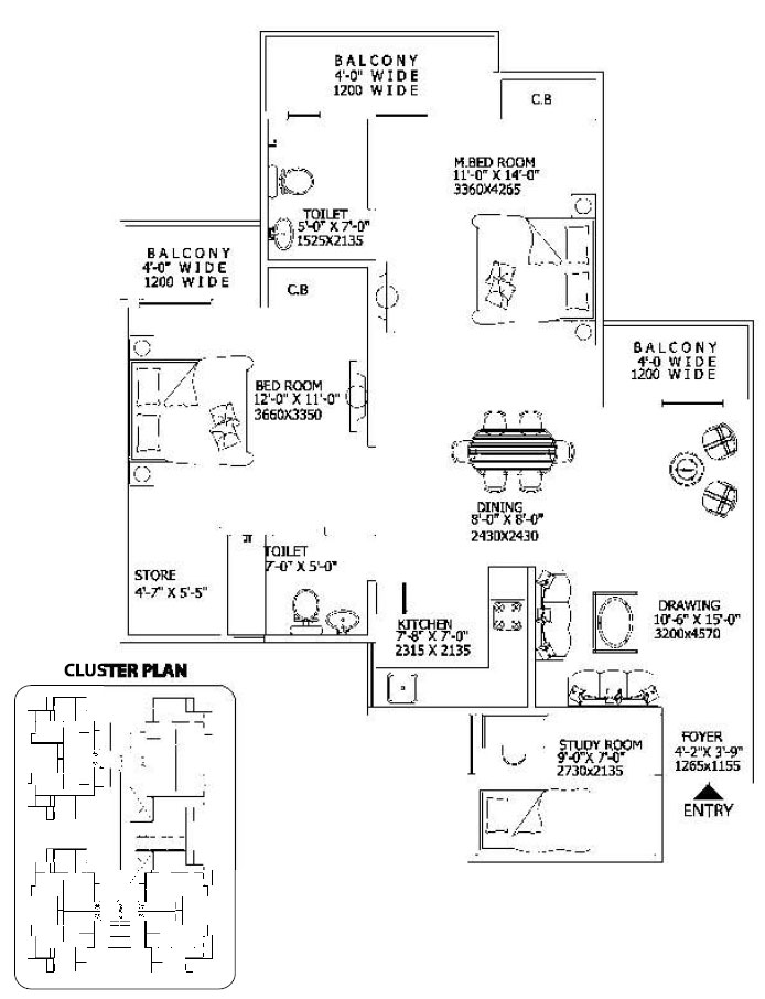 gaur city2 10th avenue floor plan 2bhk 2toilet 1175 sq.ft