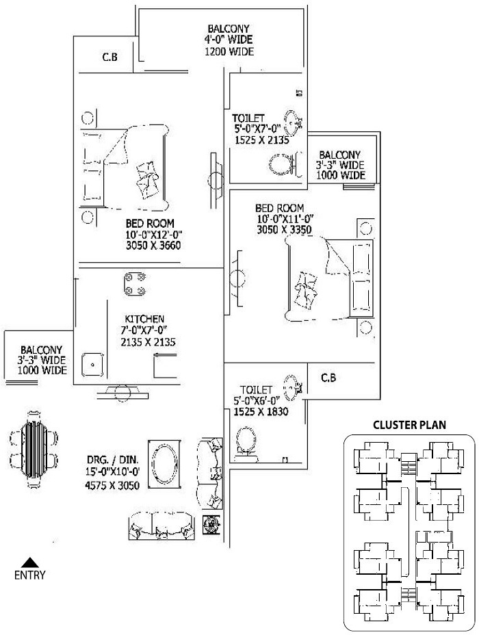 gaur city2 10th avenue floor plan 2bhk 2toilet 845 sq.ft