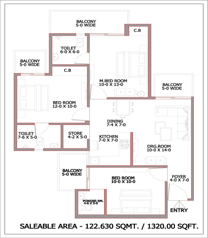 gaur city2 12th avenue floor plan 3bhk 2toilet 1320 sq.ft