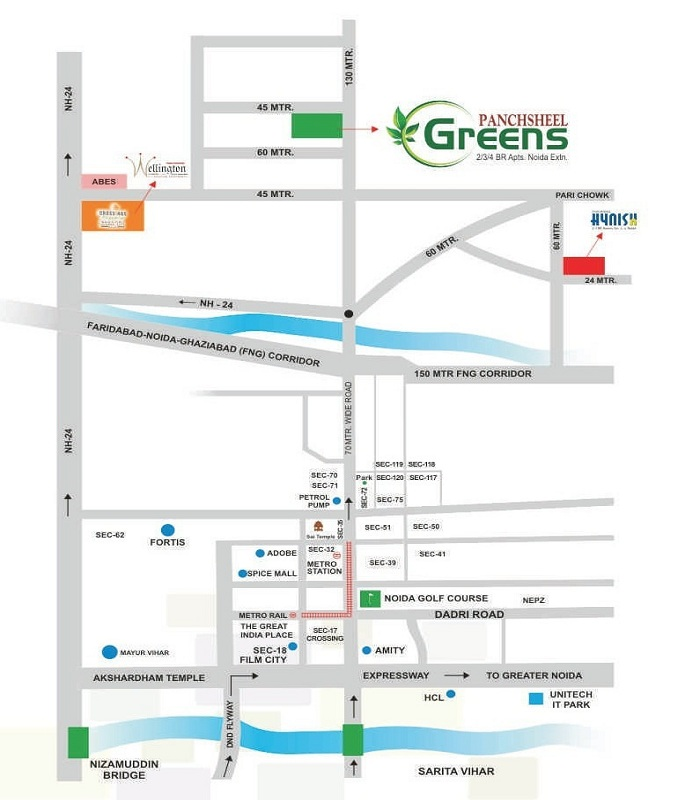panchsheel greens location map