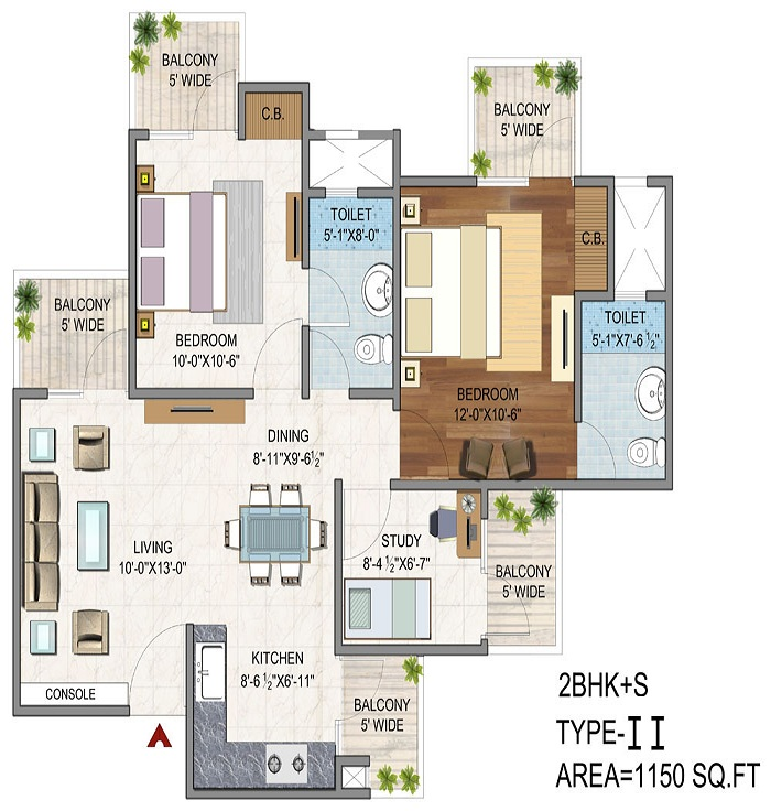 vaibhav heritage height floor plan 2bhk 2toilet 1150 sq.ft