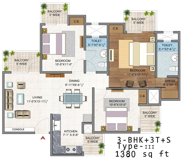 vaibhav heritage height floor plan 3bhk 3toilet 1380 sq.ft