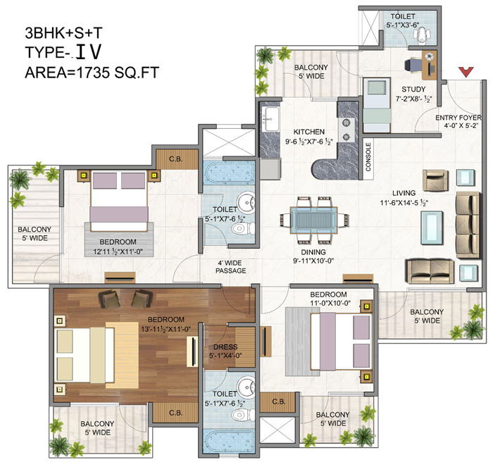 vaibhav heritage height floor plan 3bhk 3toilet 1735 sq.ft