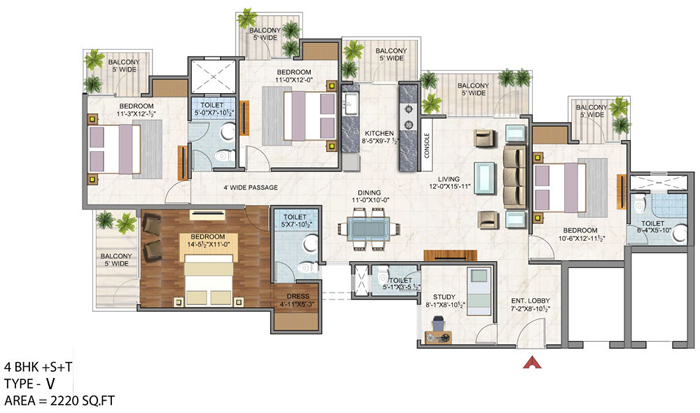 vaibhav heritage height floor plan 4bhk 3toilet 2220 sq.ft