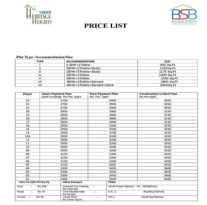 vaibhav heritage height price list
