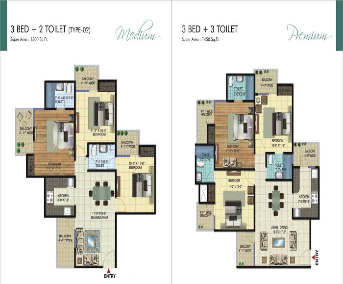 amrapali ivory heights floor plan 3bhk 3toilet 1450 sq.ft