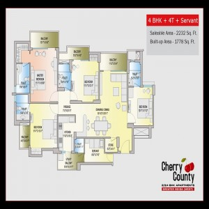cherry county floor plan 4bhk 4toilet 2232 sq.ft