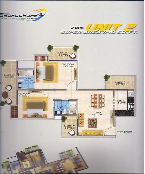 dev sai sports home floor plan 2bhk 2toilet 1140 sq.ft