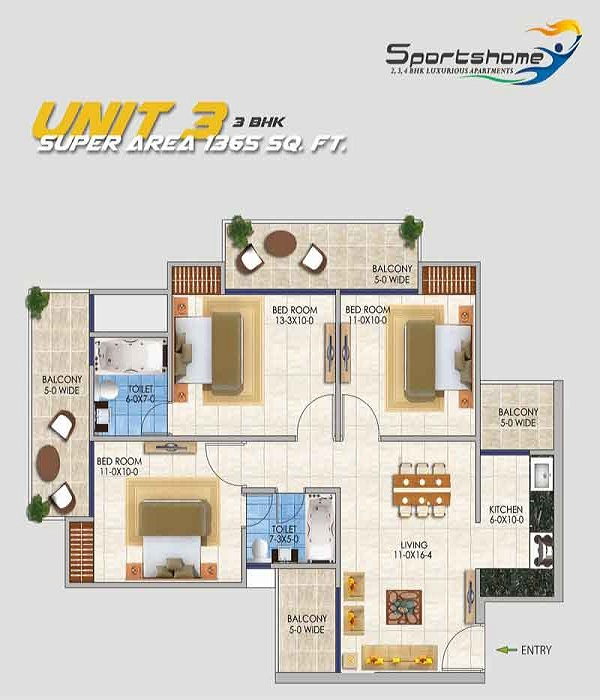 dev sai sports home floor plan 3bhk 2toilet 1365 sq.ft