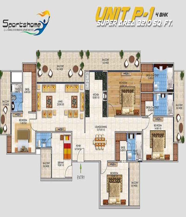 dev sai sports home floor plan 4bhk 5toilet 3210 sq.ft