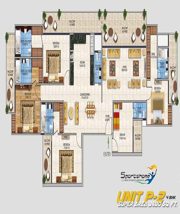 dev sai sports home floor plan 4bhk 6toilet 3680 sq.ft